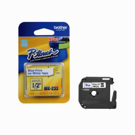 MK233 -BROTHER 12mm Azul en Fondo Blanco Cinta 8mt p/PT-90