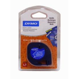 91335 -DYMO Negro sobre Azul 12mm x 4mt Etiqueta Plastica Letratag