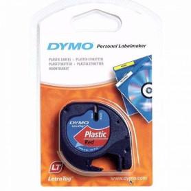 9133 -DYMO Negro sobre Rojo 12mm x 4mt Etiqueta Plastica Letratag