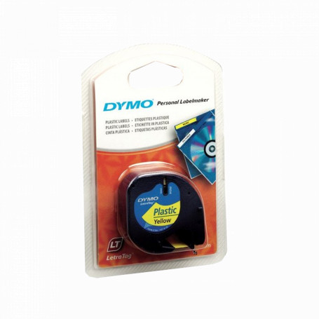 Etiqueta basica 9-12mm DYMO 91332 91332 -DYMO Negro sobre Amarillo 12mm x 4mt Etiqueta Plastica Letratag