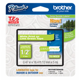TZE-MQG35 -BROTHER 12mm Blanco en Fondo Verde-Lima Cinta 5mt p/PT-H105/E300/E550