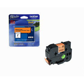 TZE-B51 -BROTHER 24mm Negro en Fondo Naranjo-Fluor Cinta 5mt p/PT-D600VP/E550