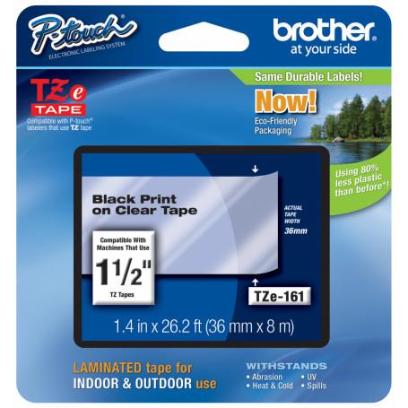 Etiqueta Pro 24-36mm Brother TZE-161 TZE-161 -BROTHER 36mm Negro en Fondo Transparente Cinta 8mt p/PT-9700PC
