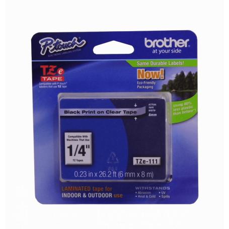 Etiqueta Pro 6-9mm Brother TZE-111 TZE-111 -BROTHER 6mm Negro en Fondo Transparente Cinta 8mt p/PT-H105/D600/E300