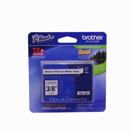 Etiqueta Pro 6-9mm Brother TZE-221 TZE-221 -BROTHER 9mm Negro en Fondo Blanco Cinta 8mt p/PT-H105/9700/D600/E