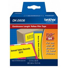 DK2606 -BROTHER 62mm 15,2mt Negro sobre Amarillo Plastificado-Continuo Adhe QL