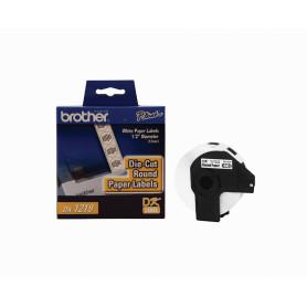 DK1219 -Brother 12mm-Diametro 1200-Etiquetas Adhesivas Papel Blanco para-QL