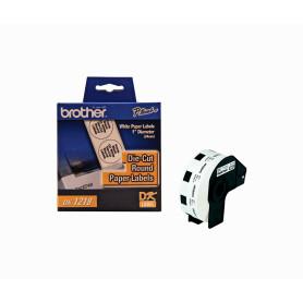 DK1218 -Brother 24mm-Diametro 1000-Etiquetas Adhesivas Papel Blanco para-QL
