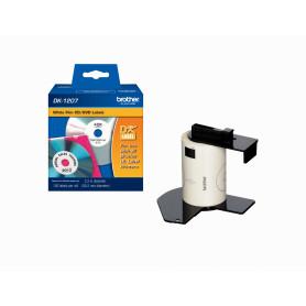 DK1207 -Brother 58mm-Diametro 100-Etiqueta/CD-DVD Plastificado Blanco p/QL-700