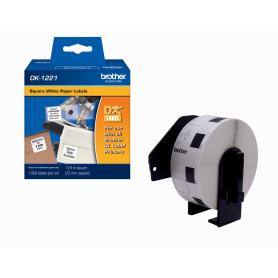 DK1221 -Brother 23x23mm 1000-Etiquetas Adhesivas Papel Blanco para-serie-QL