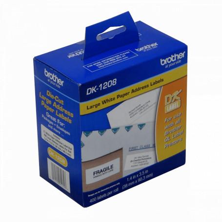 Papel termico / etiqueta Brother DK1208 DK1208 -Brother 38x90mm 400-Etiquetas Adhesiv Papel Blanco para serie-QL 4x9cm