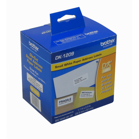 Papel termico / etiqueta Brother DK1209 DK1209 -Brother 29x62mm 800-Etiquetas Adhesiv Papel Blanco para serie-QL 3x6cm