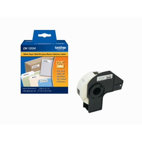 Papel termico Brother DK1204 DK1204 -BROTHER 17x54mm 400-Etiquetas Adhesivas Papel Blanco para serie-QL