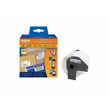 Papel termico Brother DK1202 DK1202 -BROTHER 62x100mm 300-Etiquetas Adhesivas Papel Blanco para serie-QL