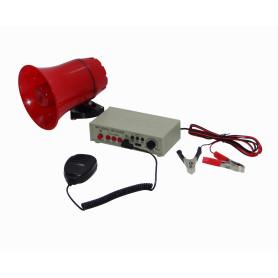 MEGAFONO-MP3 -Megafono MP3-USB 25W 12V-24VDC p/Auto Graba-120seg. inc-Mic-3,5mm