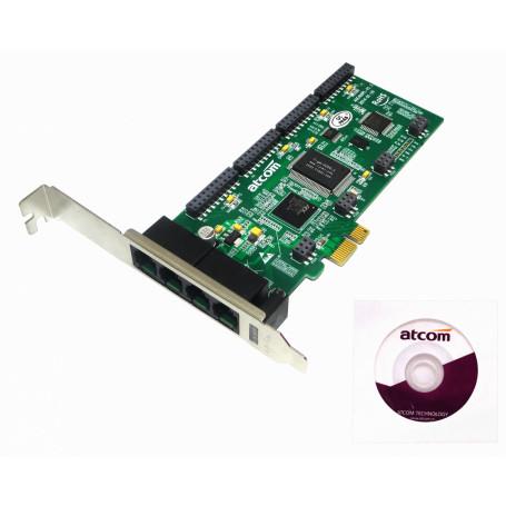Tarjeta p/Asterisk ATCOM AXE400PL AXE400PL ATCOM PCIe-x1 4X 4-RJ11 REQ-AX110 3.3/5V 32BIT TARJETA ASTERISK
