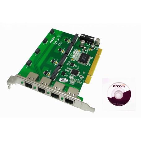 Tarjeta p/Asterisk ATCOM AX400P AX400P -ATCOM PCI 4X 4-RJ11 REQ-AX110 3.3/5V 32BIT TARJETA ASTERISK