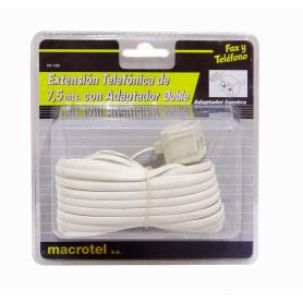 MT-1382 -MACROTEL 1-RJ11-M 2-RJ11-H 7,5mt 6P4C Cable Extension Telefonica RJ14