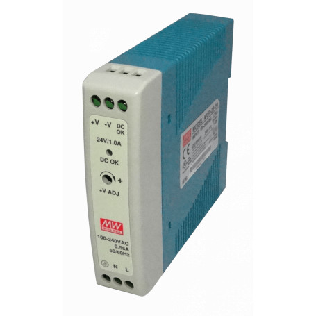 Transformador 24V MEANWELL MDR-20-24 MDR-20-24 -MEANWELL 24VDC 24W 1A RIEL-DIN FUENTE-PODER AJUST ANCHO-24MM DC-OK