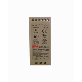 MDR-60-24 -MEANWELL 24VDC 60W 2,5A Riel-DIN Fuente-Poder Ajustable Ancho-42mm