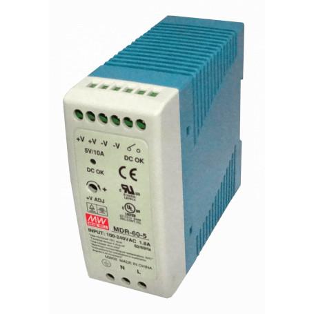 Transformador 5V 9V MEANWELL MDR-60-5 MDR-60-5 -MEANWELL 5VDC 50W 10A Riel-DIN FuentePoder Ajustable Ancho42mm DC-OK