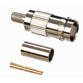 BNCH-CRIMP58 -Conector BNC-Hembra Crimpeable p/cable LMR195 RG58 RG142 RG223 RG400