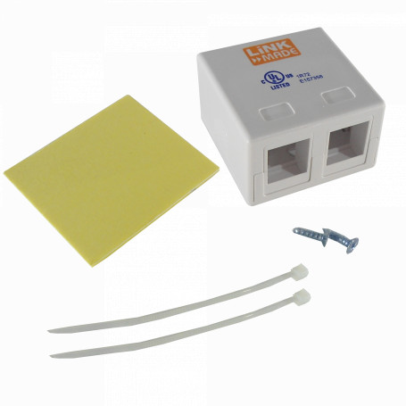 Roseta y caja-exterior Linkmade RST-M2L RST-M2L -LINKMADE ROSETA BLANCA VACIA PARA 2 KEYSTONE