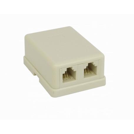 Roseta y caja-exterior Generico RST-1124 RST-1124 -Roseta 2-RJ11 6P4C Doble Ivory Beige Sobrepuesta 8-tornillos