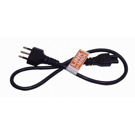 Cable de Poder Linkmade CIMT CIMT 0,6mt Negro Trebol-C5-Hembra Chile-Macho Cable Poder 6A 3x0,75mm2 60cm