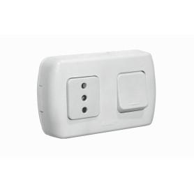 ENCH-INTERRUP -KALOP Interruptor Enchufe Sobrepuesto Blanco con-Tierra Tekna KS39674