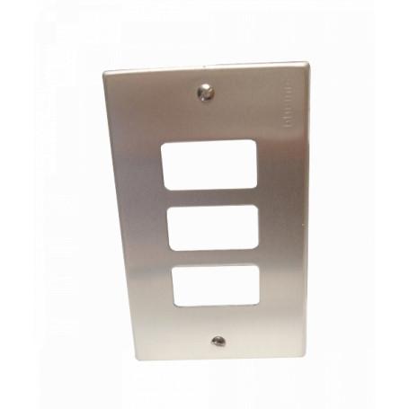 Enchufe Mural / Tapa BTICINO EBP503-3 EBP503-3 -BTICINO Placa 3 Puestos Modulos Aluminio c/Tornillos