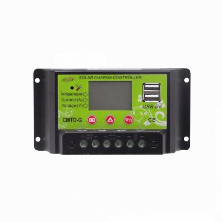 Inversores / Reguladores de carga Generico REG20A REG20A -12V/24V 20A Regulador Carga PWM Solar Eolico Basico 2x5V-USB