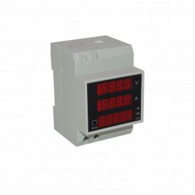 D52-2048 -Medidor AC Volt Ampere Watt Coseno FactorPotencia VA RielDin 300V/100A