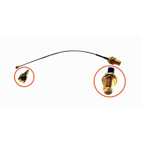 Cable coax armado L-COM RH1LM-20CM RH1LM-20CM 20cm U.FL RPSMA-Hembra CA100 Cable Coaxial Negro