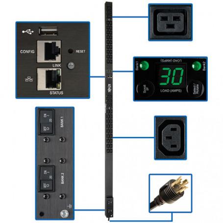 PDU / Enchufes IP Tripplite pdumnv30hv2lx PDU TrippLite 5/5.8kW monofasica monitoreada, interfaz LX 208/240V enchufes (36 C13...