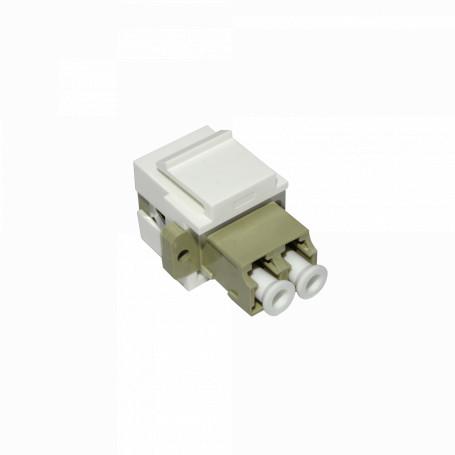 Adaptador copla miniplaca Linkmade KLLWL KLLWL Blanco/Beige LC-LC Duplex Keystone Adaptador Copla