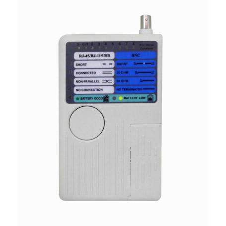 Tester Red Generico TS-08 TS-08 -Tester Continuidad USB-BNC-RJ11-RJ12-RJ45 requiere-Bat-9V