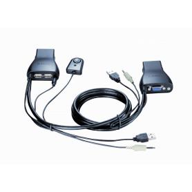 KVM-222 -D-LINK KVM c/Cables-Integrados VGA USB Audio 3,5mm-H 2-Equipos