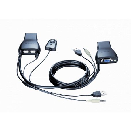 Equipo KVM Dlink KVM-222 KVM-222 -D-LINK KVM c/Cables-Integrados VGA USB Audio 3,5mm-H 2-Equipos