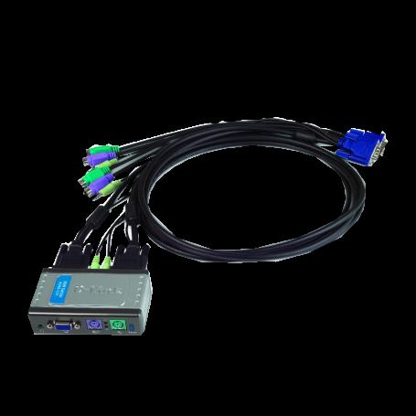 Equipo KVM Dlink KVM-121 KVM-121 -D-LINK KVM 2-EQUIPOS AUDIO PS2 C/CABLES-1.8MT