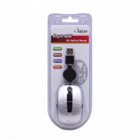 MOUSE-O -OMEGA Mouse Optico USB 3-Botones Scroll Cable-Retractil Blister