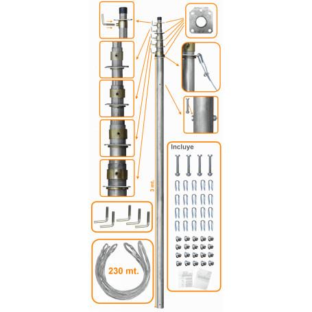 Mastil para antena Linkmade MAST-50 MAST-50 50PIES-15MT MASTIL TELESCOPICO C/VIENTOS
