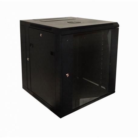 Gabinete 2-15U cerrado Linkmade RKD12-6L RKD12-6L -LINKMADE 12U RACK DOBLE BISAGRA 60CM-FONDO NEGRO INC-2U