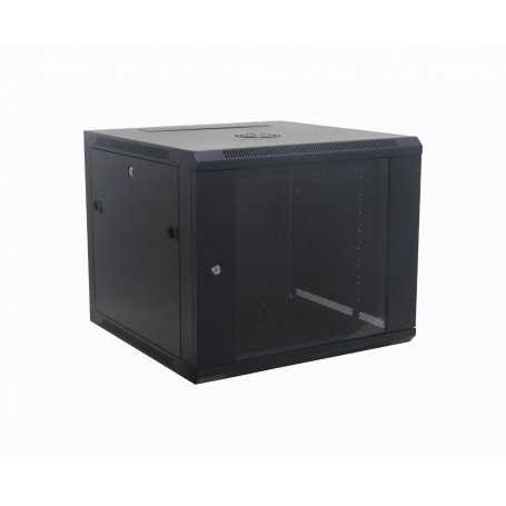 Gabinete 2-15U cerrado Linkmade RK09-6L RK09-6L 60cm-Fondo 9U Gabinete Rack Pared Negro inc-M6-2U