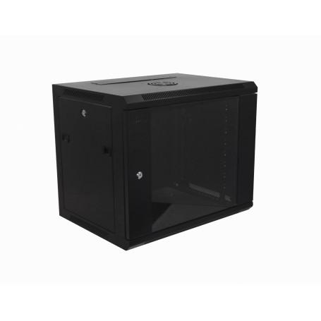 Gabinete 2-15U cerrado Linkmade RK09-4L RK09-4L 45cm-Fondo 9U Gabinete Rack Pared Negro inc-M6-2U