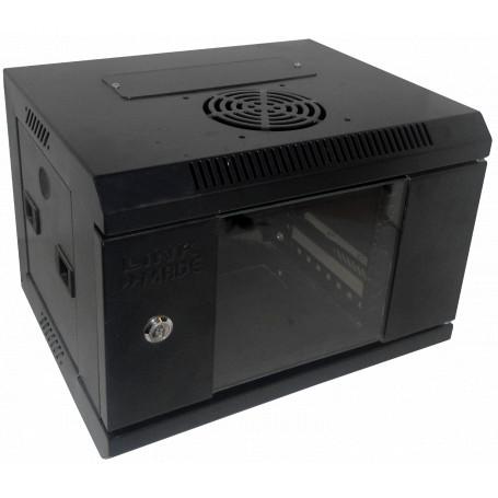 Gabinete 10 pulgadas Linkmade RK1004-3L RK1004-3L -LINKMADE Rack 4U 10-Pulgadas-Ancho 30cm-Fondo Negro Puerta-Vidrio